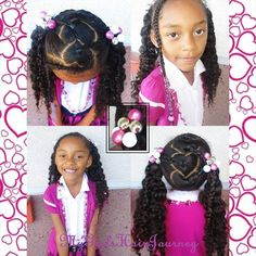 Parted Hearts... Ponytails... BraidOut... Beads... Ballies