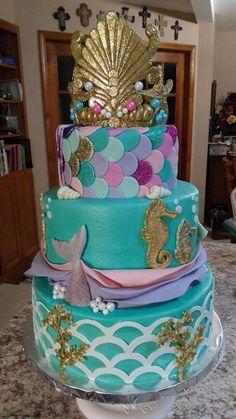 Mermaid Birthday Cakes, Little Mermaid Birthday, Little Mermaid Parties, Mermaid Cakes, 1st Birthday Themes, Barbie Birthday, 10th Birthday Parties, Sirenita Cake, Bolo Fake Eva