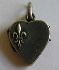 Antique French 800 Silver Fleur de Lis Heart Locket Charm
