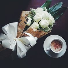 perfect! #flowers#roses#coffe
