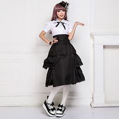 Knee-length Short Sleeve White Blouse and Black Skirt Cotton Classic Lolita Outfit