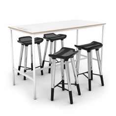 TECHSPACE™ Bar 04. This tech focused collection with TECHSPACE Stools creates both a tech zone and sit or stand work zone.