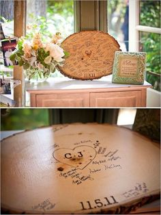 Such a cool idea for a rustic wedding! Have your guests sign a tree slab that you can display in your home