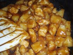 Easy Pineapple Chicken   BigOven....Use 1 less Tbs of soy sauce and add about a Tbs of brown sugar and a tsp or fresh grated ginger....delicious and very quick to prepare!
