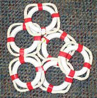 Make on a smaller scale for SWAPS; white ring, red tape, rope.