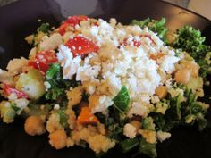 Healthy, veggie-packed, super lemony, salty feta, cous cous salad, perfect for any occasion. Fast Food Salads, Couscous Salad, Fried Rice, Feta, Salad Recipes, Veggies, Dinner, Healthy, Ethnic Recipes
