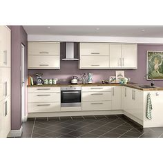orlando cream high gloss kitchen wickes remodeling design your own cabi Cream Kitchen Units, High Gloss Kitchen, Cream Gloss Kitchen Decor, Home Decor Kitchen, New Kitchen, Kitchen Ideas, Kitchen Colour Schemes, Farmhouse Side Table, Kitchen Pictures