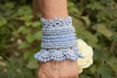 Blue Crochet Bracelet Cuff Beaded Cuff by Mycrochetfantasy on Etsy