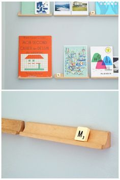 old scrabble shelves put to use.