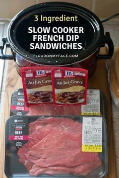 Crock Pot French Dip Sandwiches - Slow Cooker - Ideas of Slow Cooker #SlowCooker -  3 Ingredient Slow Cooker French Dip Sandwich Recipe via flouronmyface.com