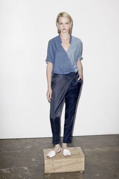 SONTAG DRAPE BLOUSE | denim tencel |  dark indigo   ISSA WRAP PANT | sandwashed cupro satin |  midnight