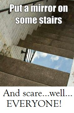 The (clean) version of a funny prank! :) http://ziggacakedup.com/ Mirror Stairs, Funny Memes, Hilarious, April Fools, Pranks, The Fool, Funny Pictures, I Laughed, Art Photography