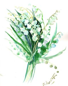 Lilies of the Valley, Original watercolor painting, 14 X 11 in, white field flowers, spring flowers art