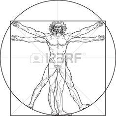 The Vitruvian man, or so called Leonardo's man. Detailed drawing..
