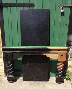 Full size antique snooker table legs during restoration