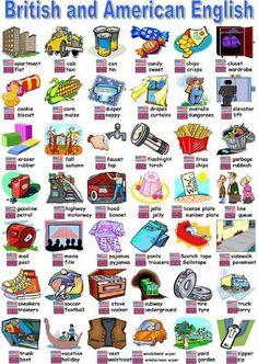 EwR.Vocabulary Poster #English British versus American English