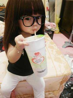 How cute, she looks like a mini barbie doll