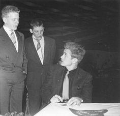 James Dean at sweetheart ball Fairmount High in Fairmount, Indiana 1955.