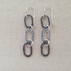 Simple to make!  DIY Chan Luu style triple beaded link earrings at Lisa Yang's Jewelry Blog