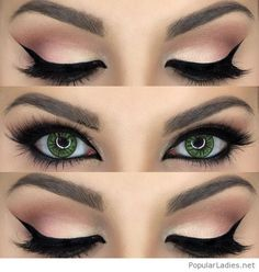 Nude and black eye makeup for green eyes