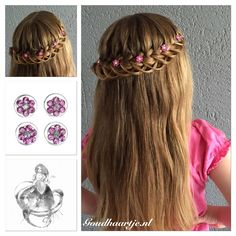A lace loop braid with cute flower curlies from Goudhaartje.nl #lacebraid…