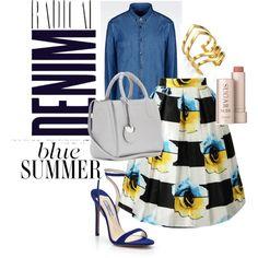 How to wear a denim shirt elegantly? by southernbelle83 on Polyvore featuring Armani Jeans, Prada, Salvatore Ferragamo, Jennifer Zeuner, Fresh and Alima