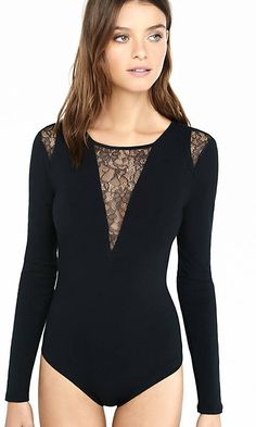 Black Long Sleeve Pieced Lace Bodysuit | Express