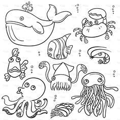 Cartoon sea animal in black and white stock vector art 19098872 - iStock