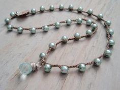 CUSTOM LISTING for KIM- 2 Aqua Pearl crocheted necklaces w/ Aquamarine quartz wire wrapped briolette. sky blue