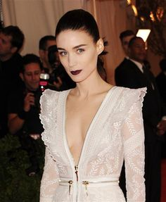 #RooneyMara wears #black with a hint of #red #lip #color. See more celebs on Wonderwall: http://on-msn.com/1bFSIdr