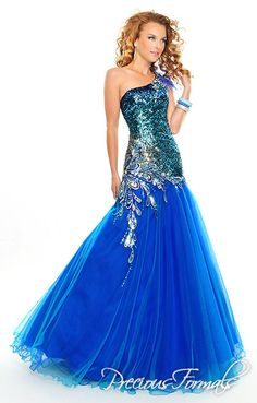 Precious Formals Style V55182 Teardrop shaped emroidery enclosing sequins radiates from the side of the dropped waist on this long strapless ballgown. A sequin covered bodice flows upward into a one shouldered strap with jewels and feathers. prom dress