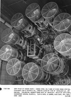 Close-up view of installed GE #jet engines. 125,000 KW, reserve #power unit for ARMCO Steel Co. in 1965.