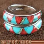 Turquoise Multicolor Inlay Sterling Silver WhiteRock Adjustable Ring
