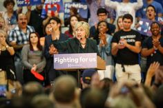 Hillary Clinton speaks at a grass roots rally Wednesday in Orlando. She also attended several fundraising events in Florida.