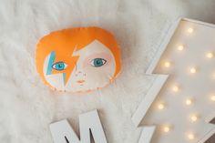 David Bowie mini cushion, Aladdin Sane, Ziggy Stardust pillow