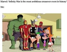 Marvel infinity war funny Phineas and Ferb Avengers Memes, Marvel Memes, Marvel Dc Comics, Marvel Avengers, Phineas And Ferb Memes, Phineas Und Ferb, Super Funny Memes, Hilarious Memes, Funny Pics