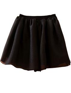 Falda gasa goma cintura-Negro EUR€21.26