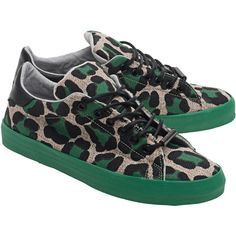 Black Dioniso Ghepard Green // Sneakers in animal look ($81) ❤ liked on Polyvore featuring shoes, sneakers, woven sneakers, flat shoes, wide fit shoes, flat sneakers and wide shoes