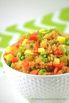 Pineapple, quinoa fried rice! Yum!