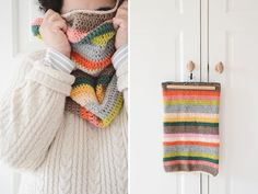 Striped crochet cowl
