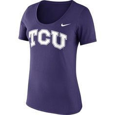 new concept dca1d 9529b Nike Women s TCU Horned Frogs Purple Logo Scoop Neck T-Shirt, Size  Large