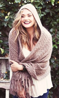Knitted Poncho with Hood