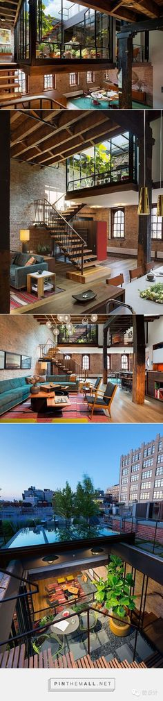 Modern House Design & Architecture : Old Caviar Warehouse Converted into a Sensational NYC Loft garden space droppe Loft D'entrepôt, Loft House, Splow House, Home Interior Design, Exterior Design, Interior Ideas, Interior Livingroom, Interior Plants, French Interior