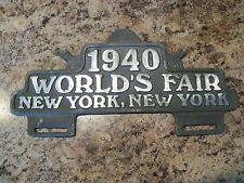 Vintage 1940 World's Fair New York License Plate Tag Topper Attachment