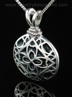 sterling silver filigree round cremation pendant urn