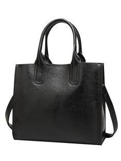 Cross Body PU Leather Tote Bag - BLACK