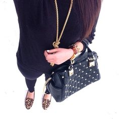 Black, gold, studs, & leopard. Perfection, @brittrake12.