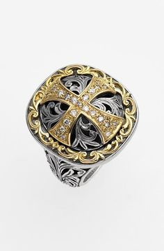 Konstantino 'Diamond Classics' Diamond Cross Two-Tone Ring available at #Nordstrom