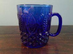 Cobalt-Blue-Glass-Royal-Sapphire-Coffee-Mug-Cup-Leaves-1-25-oz-France-J-G-Durand