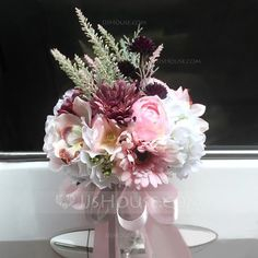 Bridal Bouquets Round Wedding Artificial Silk As the Picture 11.02